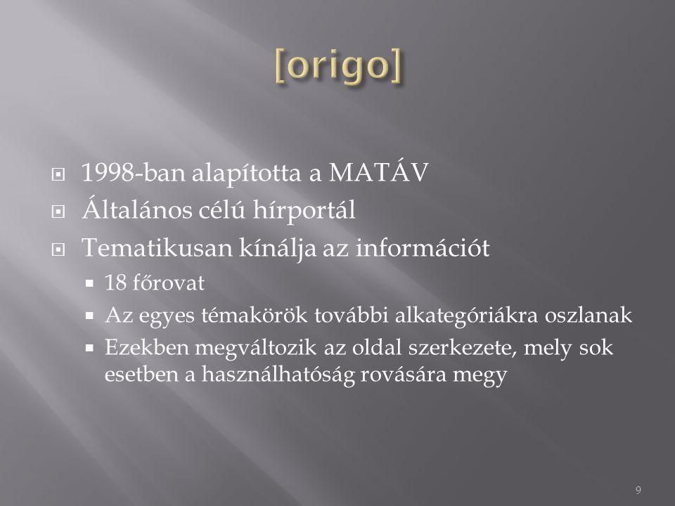 [origo] 1998-ban alapította a MATÁV Általános célú hírportál